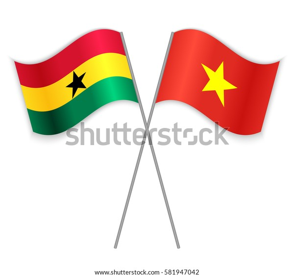 Ghanaian and Vietnamese crossed flags. Ghana combined with Vietnam isolated on white. Language learning, international business or travel concept.