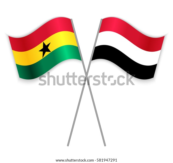 Ghanaian and Yemeni crossed flags. Ghana combined with Yemen isolated on white. Language learning, international business or travel concept.