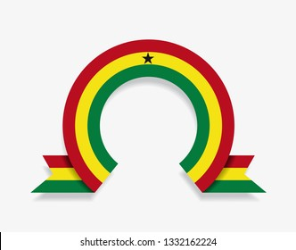 Ghanayan flag rounded ribbon abstract background. Vector illustration.