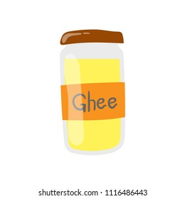 Ghee butter jar vector icon. Healthy eating cartoon illustration isolated on white.