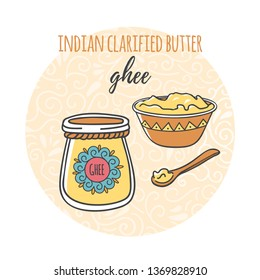 Ghee. Vector illustration of a glass jar with traditional Indian ghee butter, wooden cup and spoon. Cute cartoon objects on circle background with decorative ornament. Card, flier, banner design.