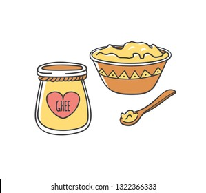 Ghee. Vector illustration of traditional Indian ghee butter. Cute doodle jar with a decorative rope and a heart shaped label. Wooden plate and spoon. Healthy eating and Culinary topic.