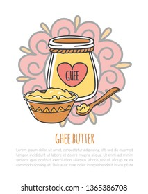 Ghee. Vector illustration of traditional Indian ghee butter with place for your text. Cute doodle jar with a decorative rope and a heart shaped label, wooden plate and spoon. Card, flier design.