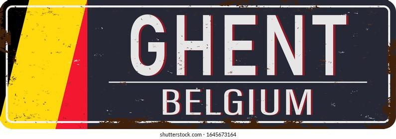 Ghent, Belgium, road sign Flag vector illustration, road table