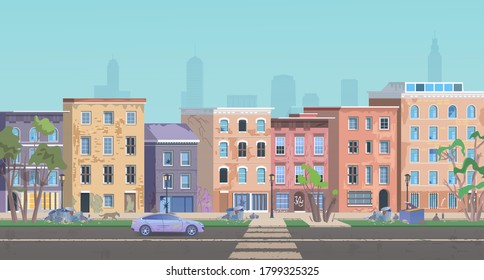 Ghetto landscape vector illustration. Cartoon neighborhood cityscape slum city street, dirty shanty houses, poor people home, homeless dog, garbage on road. Unfavorable abandoned residential area.