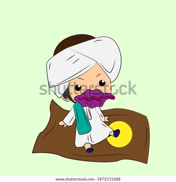 ghibah muslim is mean boy laughing and talk out loud, streetwear or t-shirt design