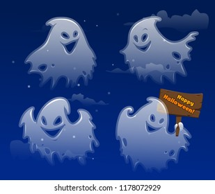 Ghost apparition spook horror a friendly Ghost funny starry sky