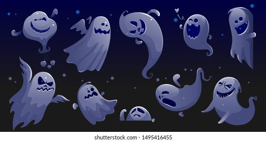 ghost apparition spook horror set. ghost funny That see through Blue night scene. ghost sheet halloween character design. Isolated vector illustration.