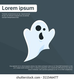 Ghost Cartoon Halloween Character Flat Vector Illustration