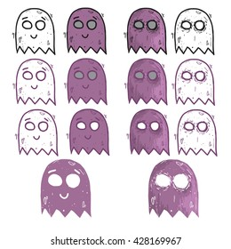 Ghost Cartoon illustration set. Arcade game icon. Retro game design.
