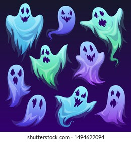 Ghost character. Halloween scary ghostly monster, spooks. Cute funny friendly ghoul, horror phantoms and holiday costume vector cartoon buster frightening creature design