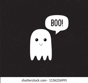 Ghost. Cute Halloween ghost with speech bubble. Boo. Vector.
