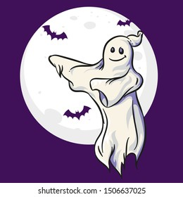 Ghost dancing illustration with moon