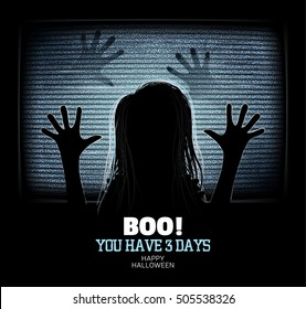 Ghost girl emerges through flickering television screen in haunted house. Happy Halloween Poster.
