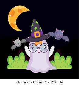 ghost with glasses and hat bats halloween