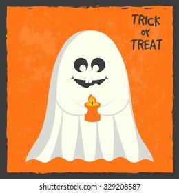 Ghost, halloween greeting card, vector illustration