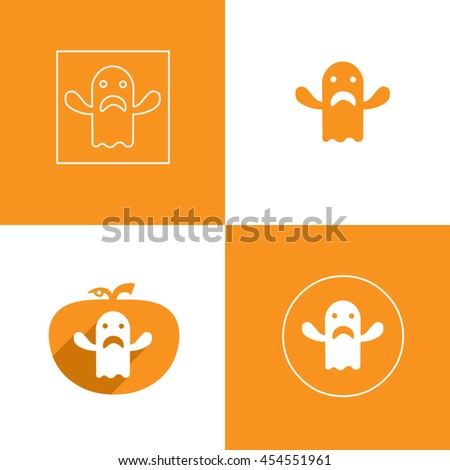 ghost halloween with hand icon