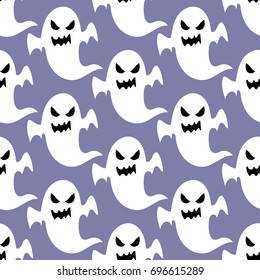 Ghost halloween pattern on the purple background. Vector illustration