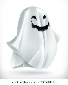 Ghost. Happy Halloween, 3d vector icon.