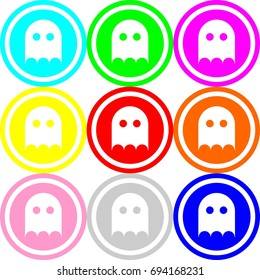 Ghost icon , circle sign design with different colors