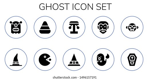 ghost icon set. 10 filled ghost icons.  Simple modern icons about  - Monster, Witch, Candy corn, Pacman, Amusement park, Dracula, Ghost, Vampire, Coffin