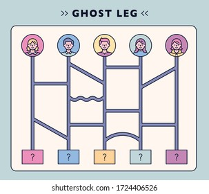 Ghost leg game board. flat design style minimal vector illustration.