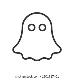 Ghost line icon. Spiritual flying character. Black outline Halloween symbol. Editable stroke. Suitable as logo. Vector illustration isolated on white background.