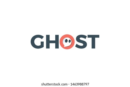 Ghost logo is formed by word mark style, forming a negative space of ghost symbol in the letter O