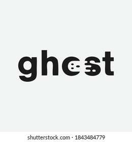 Ghost logo is formed by wordmark style with forming a negative space. Ghost Logo Design Template. ghost letter with logo design illustration