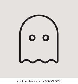Ghost Pacman Casper Halloween Outline Vector Icon