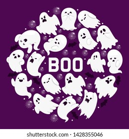 Ghost pattern vector cartoon scary spooky ghosted character illustration backdrop of Halloween holiday horror nightmare ghostly boo fear background banner.