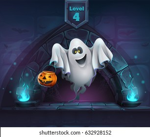 Ghost with pumpkin in next level. For web, video games, user interface, design