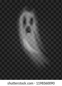 Ghost and scary poltergeist with sad face and opened mouth vector. Isolated icon on transparent background, apparition and spooky deep night creature