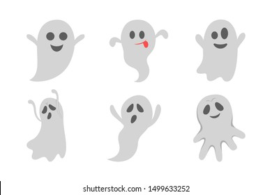 Ghost set. Spooky halloween silhouette. Horror costume. Creepy character, mystery shape. Vector illustration in cartoon style