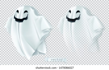 Ghost with shadow and transparency. Happy Halloween. 3d vector cartoon character