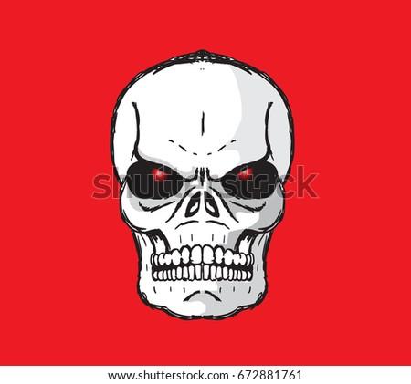 Ghost Skull Vector Draw Red Eyeball Stock Vector Royalty Free
