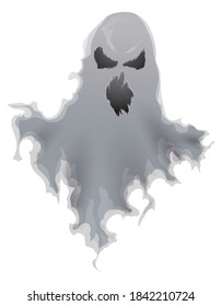 Ghost with spooky gesture, floating and wearing a ripped sheet, isolated over white background.