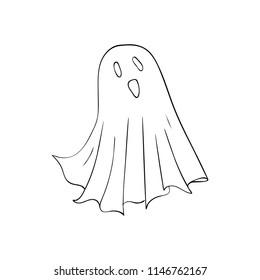 Ghost symbol of Halloween. Spook character of horror. Mystical Nightmare
