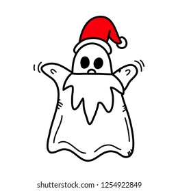 Ghost wearing Santa Claus costume,Hand drawn,Vector,Illustrations.