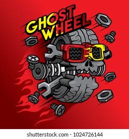 ghost wheel character design cartoon red fire hot