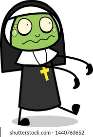 Ghost Zombie - Cartoon Nun Lady Vector Illustration