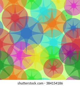 Ghostly Stars.Sweet Bubbles. Seamless Texture for background image on websites, e-mails, etc. Cream-colored Background. Disco Background