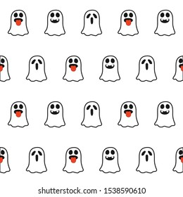 Ghosts with a different expression seamless halloween pattern on the white background. Holiday decoration. Line vector. Doodle wallpaper. Wildlife set - Vector