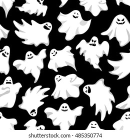 Ghosts halloween background. Spooky holiday seamless background.Vector illustration