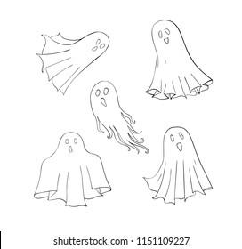 Ghosts set. Symbol of Halloween. Spook character of horror. Mystical Nightmare