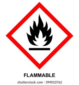 GHS hazard pictogram - FLAMMABLE , hazard warning sign flammable , isolated vector illustration