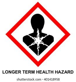 GHS hazard pictogram - LONGER TERM HEALTH HAZARD , hazard warning sign LONGER TERM HEALTH HAZARD , isolated vector illustration