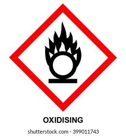GHS hazard pictogram - OXIDISING , hazard warning sign oxidising , isolated vector illustration