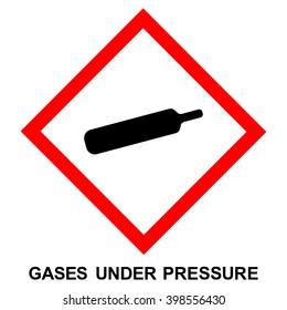 GHS hazard pictogram - PRESSURE , hazard warning sign gas under pressure , isolated vector illustration