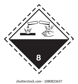 Ghs hazardous corrosive substances transport icon. Isolated vector illustration. Warning symbol hazard icons Ghs safety pictograms.